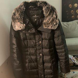 London Fog Fur Trim Puffy Car Coat